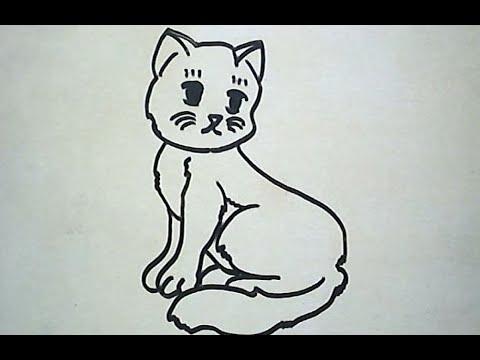 Cara Menggambar Kucing How To Draw A Cat Youtube