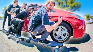 HOW MANY ELECTRIC SKATEBOARDS DOES IT TAKE TO PUSH A CAR?!?