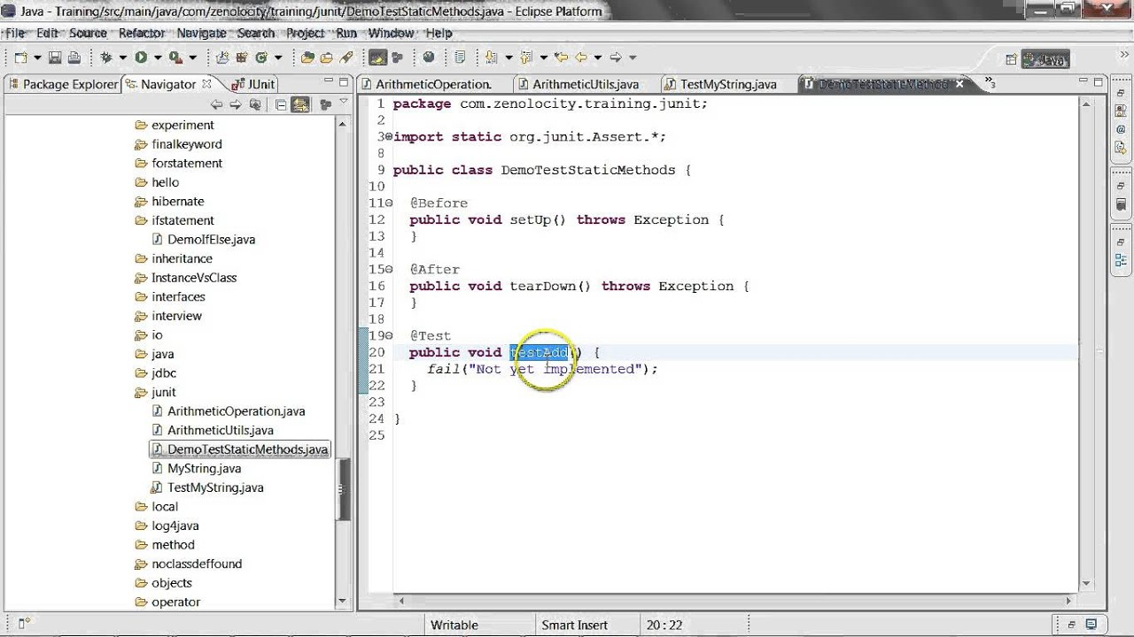 Junit demo of testing static methods