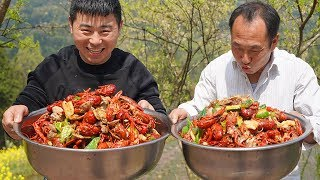 7.5kg crayfish, 3kg spatula, make seafood meal, grab directly by hand, it's really fun