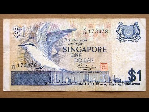 1 Singapore Dollar Banknote (One Dollar Singapore: 1976) Obverse & Reverse