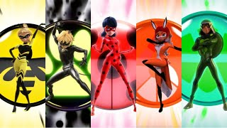 Miraculous Ladybug - Group Transformation - Ladybug , Chat Noir , Queen Bee, Rena Rouge & Carapace