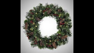 "(EPISODE 1,696) UNBOXING VIDEO: BEST CHOICE PRODUCTS 24"" SPRUCE CHRISTMAS WREATH ( SKY3021)"