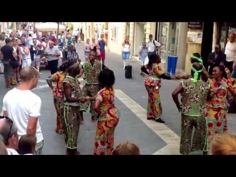 Malta, Valetta, Republic St. West African dancers. October 2013