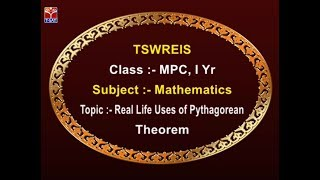 TSWREIS || Maths - Real Life Uses of Pythagorean Theorem || Live With R. Navya Sri