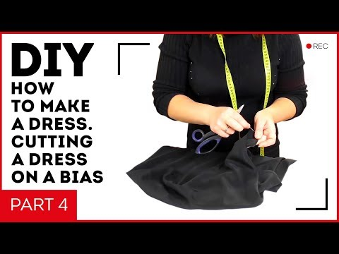 DIY: How to make a black dress. Cutting a dress on a bias. Steaming and stitching. Part 4.