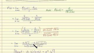 Using the definition of the derivative with a function involving a fraction and square root