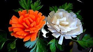 Хризантемы из моркови. Хризантемы из редьки. Цветы из моркови. Decoration of Vegetables
