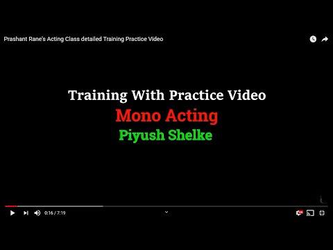Prashant Rane's Acting Class detailed Training  Practice Video