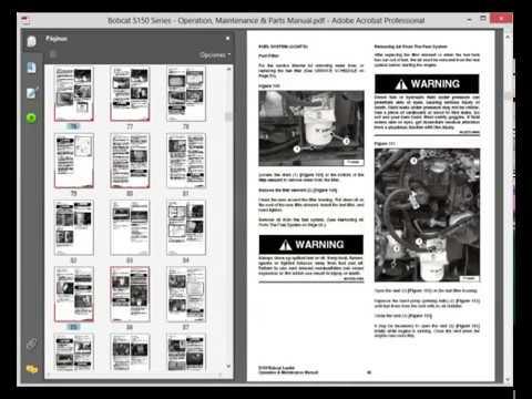 Bobcat S150 Series Operation Maintenance Parts Manual Youtube