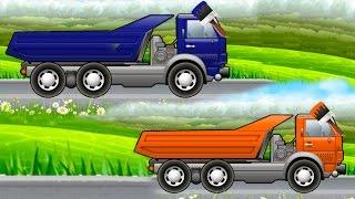 Машинки мультики. Мультфильм про мойку и раскраску грузовиков. Учим цвета радуги.