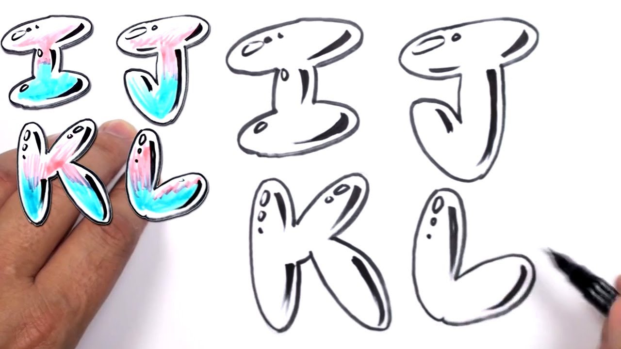 Graffiti Letters Alphabet Bubble I J K L