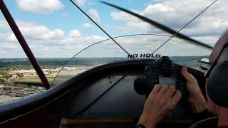 Landing at Akron Fulton Airport in 1930 D-25 Biplane! (Inside View)