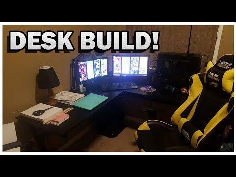 HomCom L-Shaped Corner Office Workstation | Desk Building for my Wife | Model number A2-0081