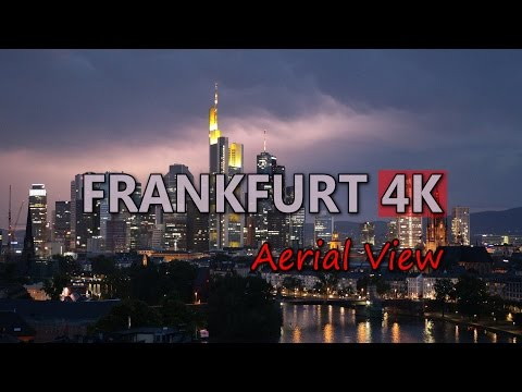 Ultra HD 4K Frankfurt Travel Germany Tourism Aerial View Tourist Sightseeing UHD Video Stock Footage