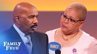 LOL! Nancy's answer UTTERLY CONFUSES Steve! | Family Feud