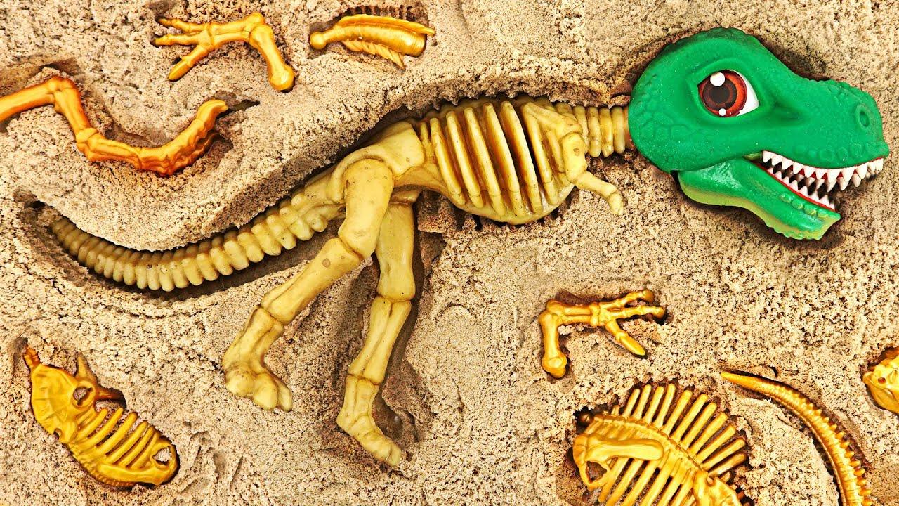 파자마 삼총사! 모래 산에서 공룡메카드 공룡뼈를 찾아 맞춰 공룡을 살려내자! | 두두팝토이
