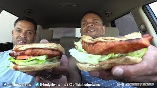 Eating Carl's Charbroiled Barbeque Chicken Sandwich @hodgetwins