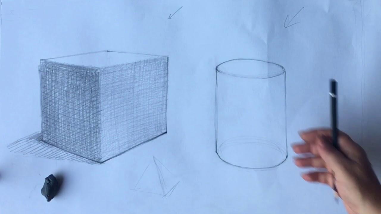 Karakalem resimde tonlama - Basit geometrik cisimlerin çizimi 2 ...SİLİNDİR