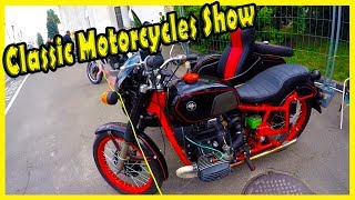 """Old and Classic Motorcycles Review. Vintage Vehicles Show """"Old Car Land"""" 2018."""