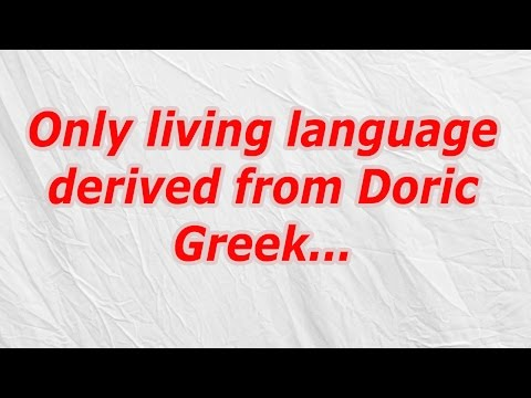 Only living language derived from Doric Greek (CodyCross Crossword Answer)