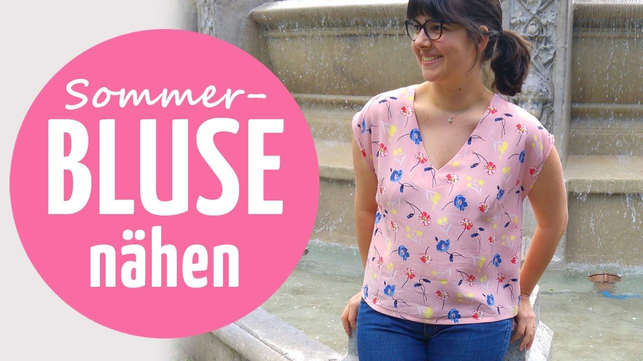 Leichte Sommer-Bluse nähen // mit Kimono-Ärmel - YouTube