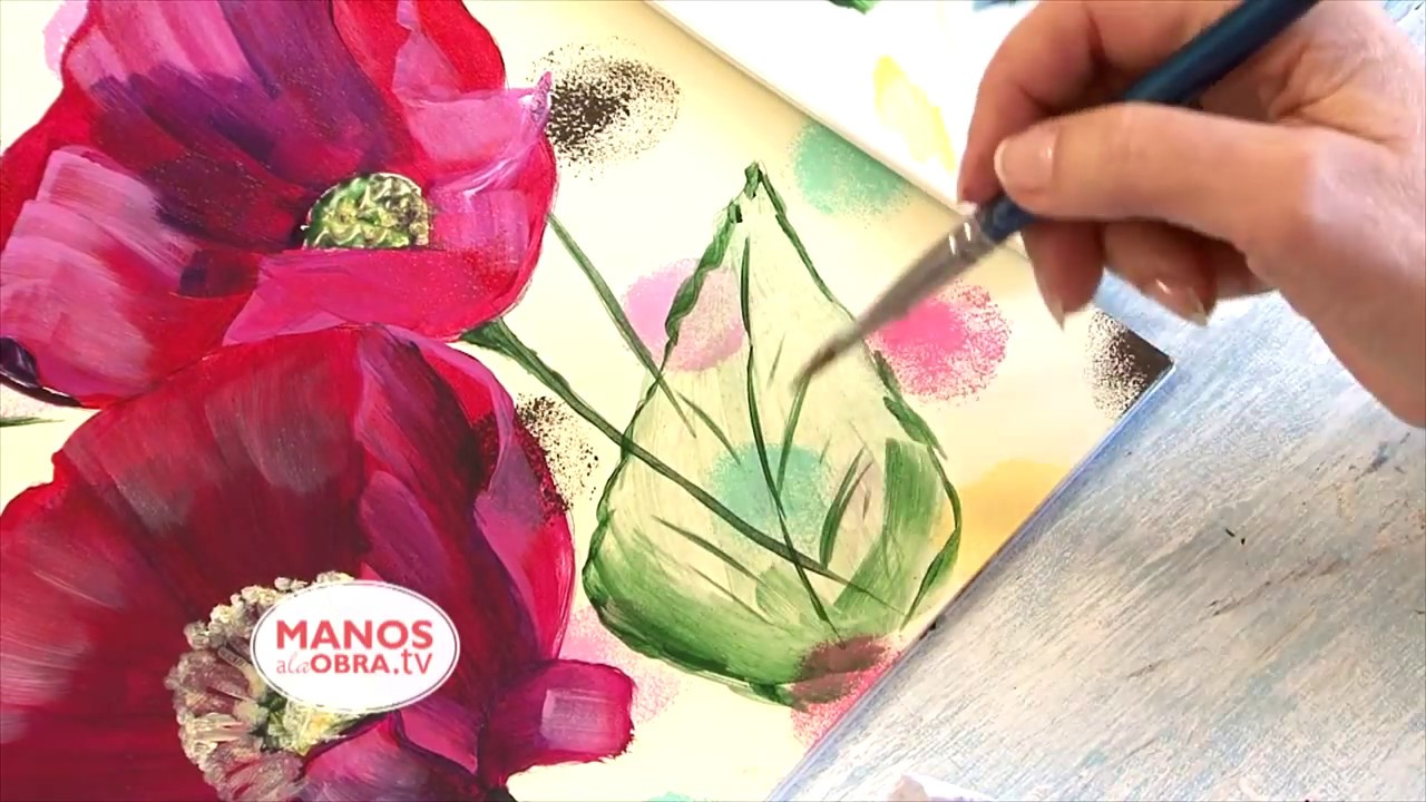 Pintar Flores En Acrilico Cuadro Amapolas Y Lunares