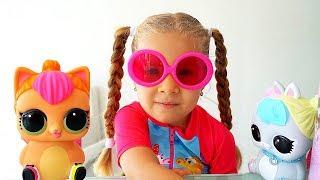 Диана открывает Куклы ЛОЛ - Большой Питомец Неоновый котёнок