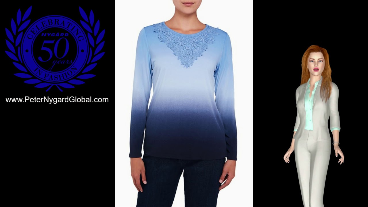 Nygard fashion ombre printed long sleeve jersey top with lace