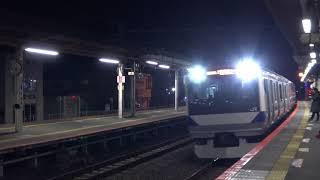 夜の佐貫駅に到着する上野東京ライン直通の終電となる常磐線上りE531系