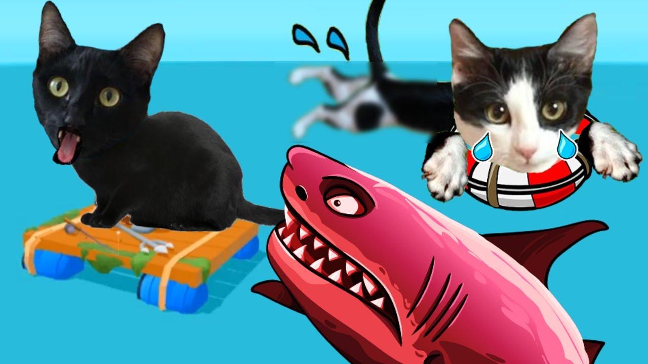 Gato jugando a simulador de ser pobre con gatos graciosos Luna y Estrella / Videojuego con gatitos