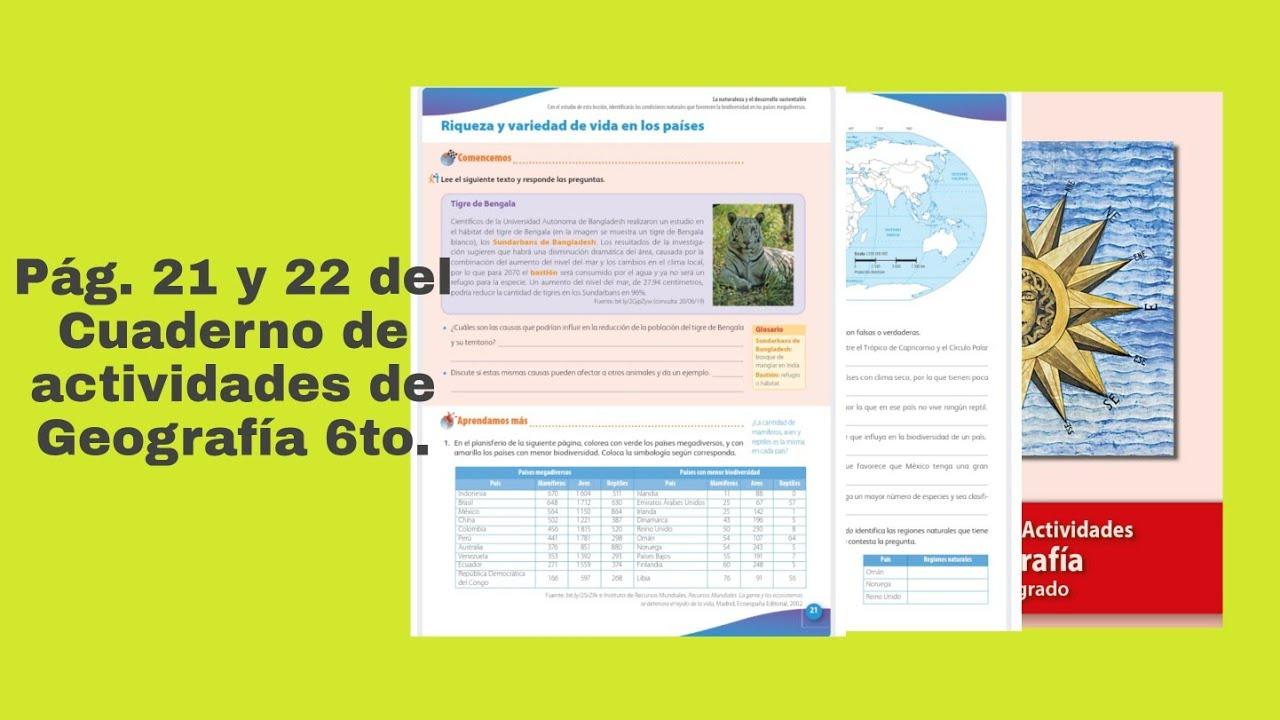 Pag 21 Y 22 Del Cuaderno De Actividades De Geografia Sexto Grado Youtube