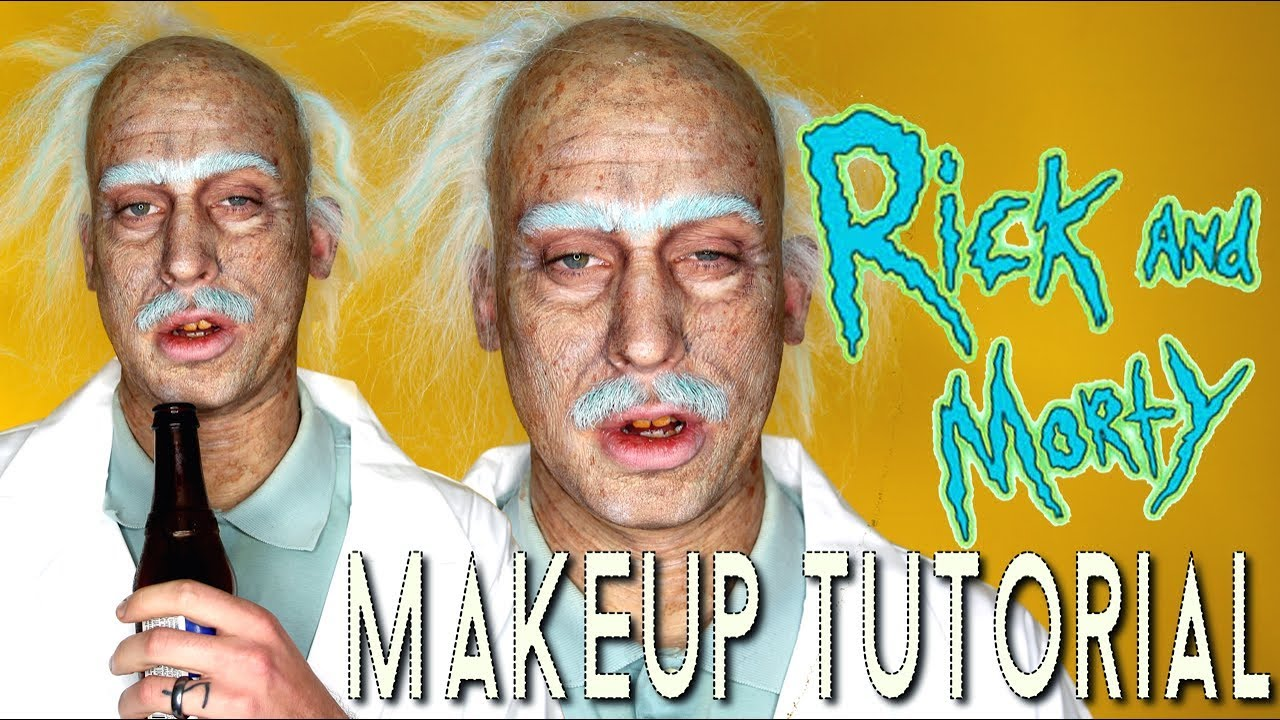 rick morty old age halloween costume makeup tutorial youtube