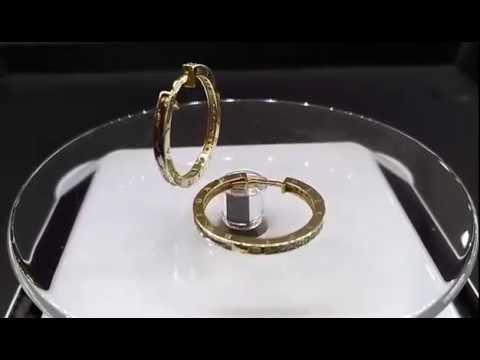 Золотые серьги кольца Булгари тонкие
