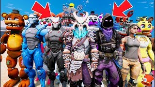 ANIMATRONICS - FORTNITE BATTLE ROYALE STUNT OFF WORLD'S BIGGEST RAMPS! (GTA 5 Mods FNAF RedHatter)
