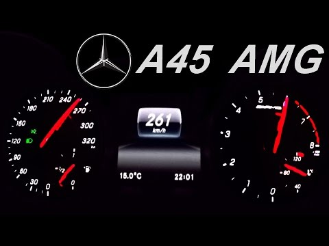 Mercedes A45 AMG Acceleration 0-260 Autobahn Top Speed Drive 2016 Version 381 HP Onboard Sound