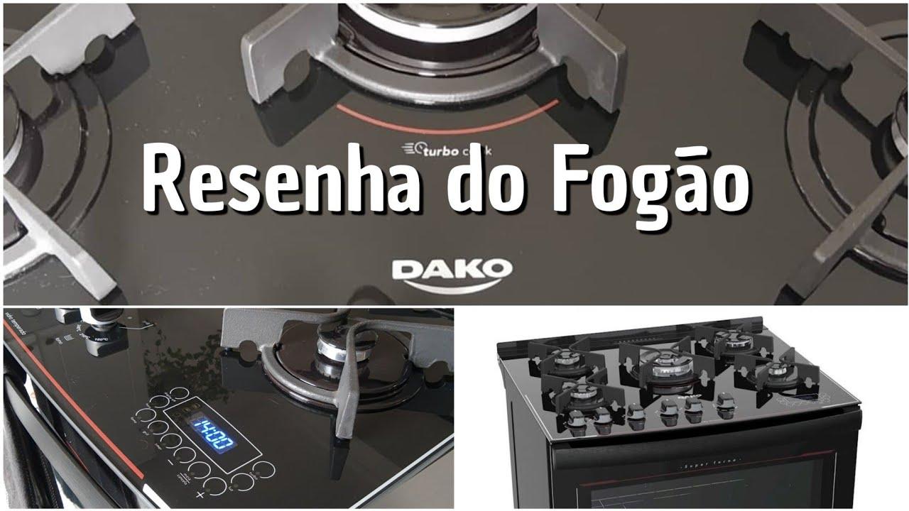 Resenha Fogão 5 bocas Dako com Mesa de Vidro e Display Digital.