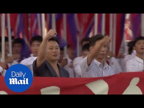 Tens of thousands of people gather for rally in Pyongyang - Daily Mail