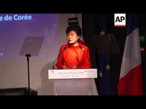 SKorea President gives speech to SKorean and French business leaders