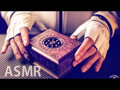 [ASMR Binaural] Old Wooden Box Tapping & Brushing - No Talki