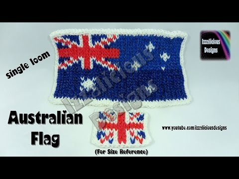 "Rainbow Loom - Australian Flag Mural ""Move It Forward"" Technique - Single Loom"