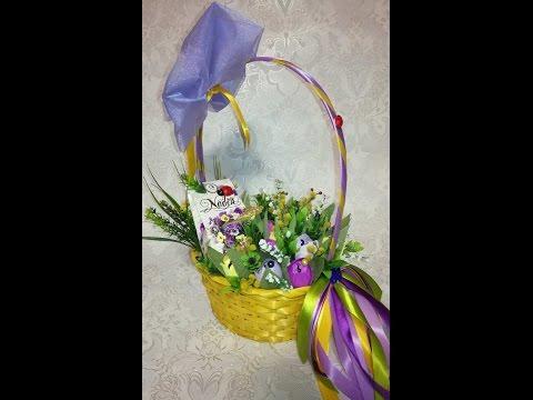 Мастер класс по изготовлению конфетной корзины с тюльпанами на 8 марта