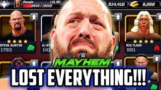 WWE MAYHEM I LOST EVERYTHING! 4 STAR SUPERSTARS & MORE DELETED!!!