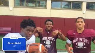 Players from St. Peter's Prep play Heads Up!