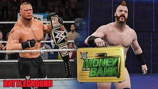 wwe battleground 2015 brock lesnar wins wwe title sheamus cashes money in the bank