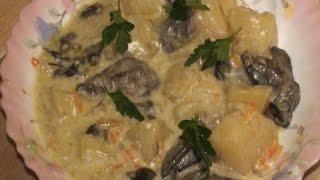 Картофель тушёный с грибами
