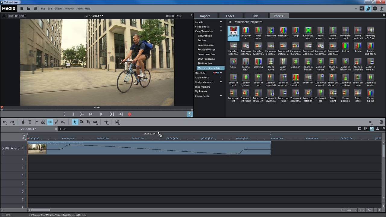 Magix Movie Edit Pro 2016 Movement Effects Tutorial Int Youtube