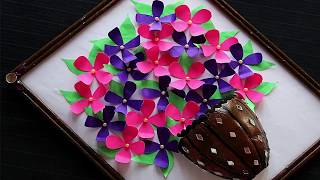 DIY-paper Flower wall Hanging craft idea | DIY | Room Decor ideas | DIY | Best out of waste
