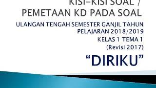 Kisi-kisi Soal Ulangan Tengah Semester Ganjil Kelas 1 Tema 1 TP. 2018/2019