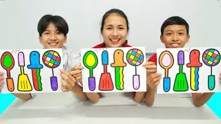 4 mainan peralatan masak , Warna Warni Belajar Menggambar dan Mewarnai untuk Anak